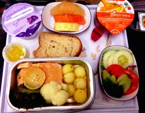 Featuring gluten free bread, salmon and fruit that tasted like vomit.